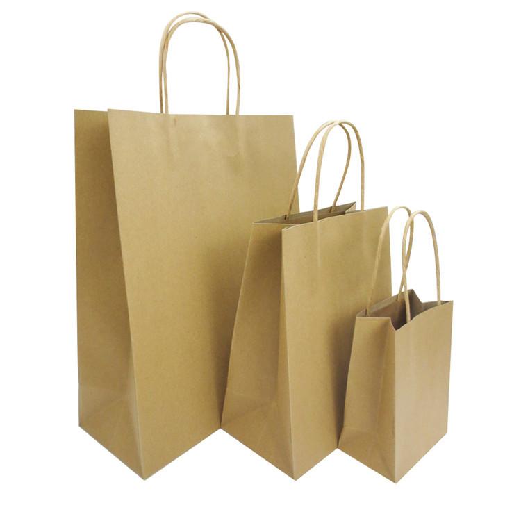 Custom sizeBrownKraft Paper Shopping Bag for Gift Packaging