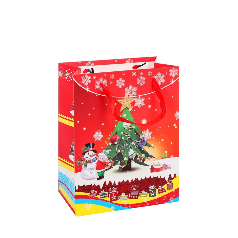 2019 New Design Simple Eco-friendly Reusable Red Snowman Christmas Hand Paper Bags