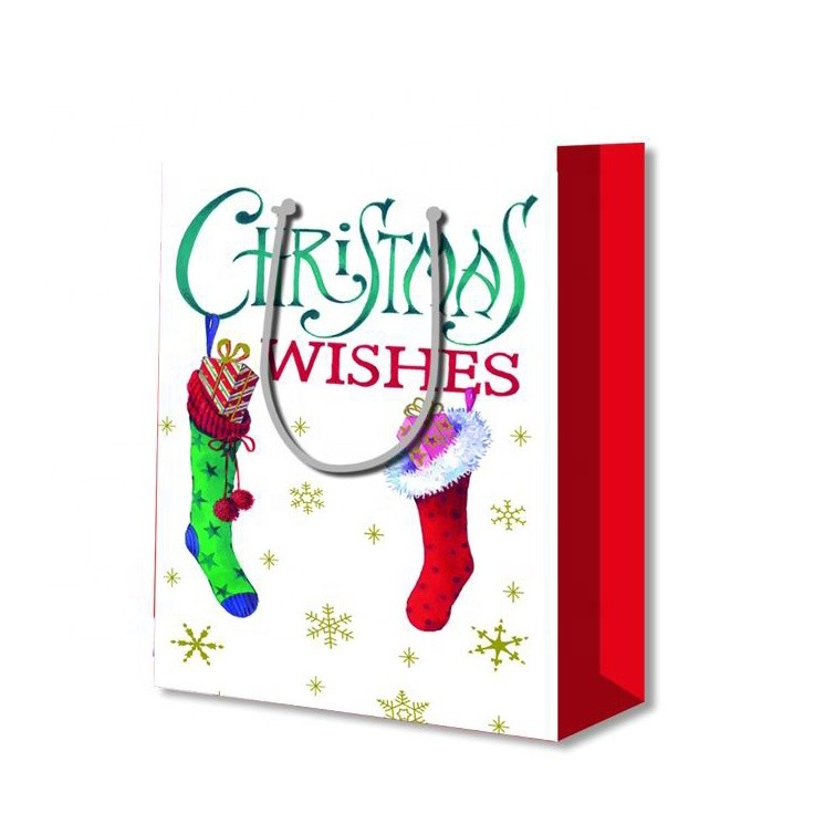 Wholesale Foldable Printing Durable Embossing Christmas Stocking Paper Gift Bag