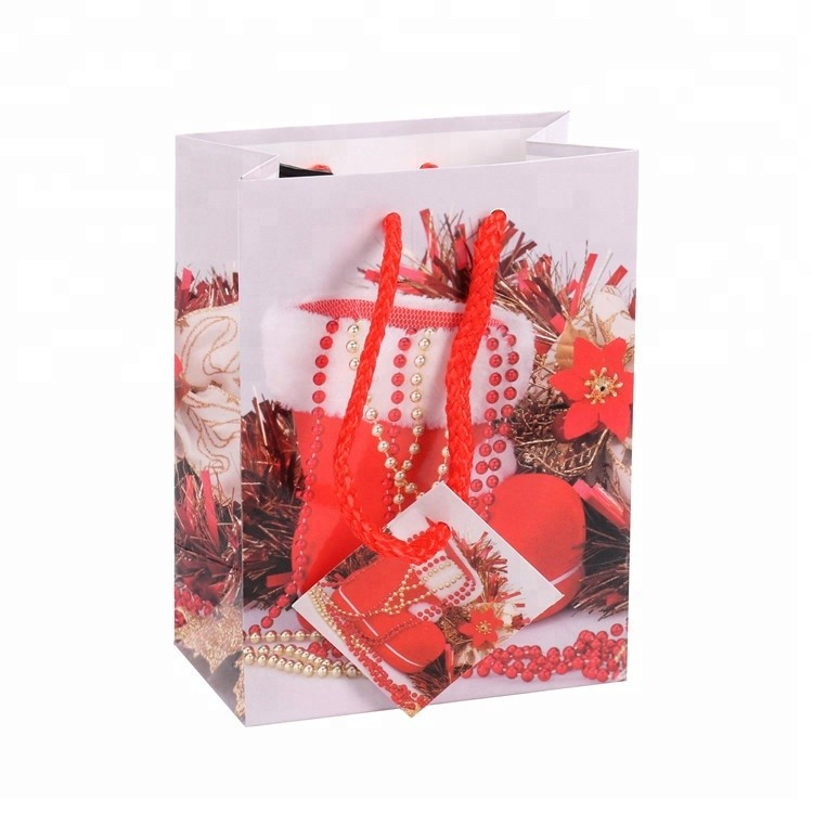 Customized Eco-friendly Fancy Decorative Christmas Gift Paper Bags With Handle