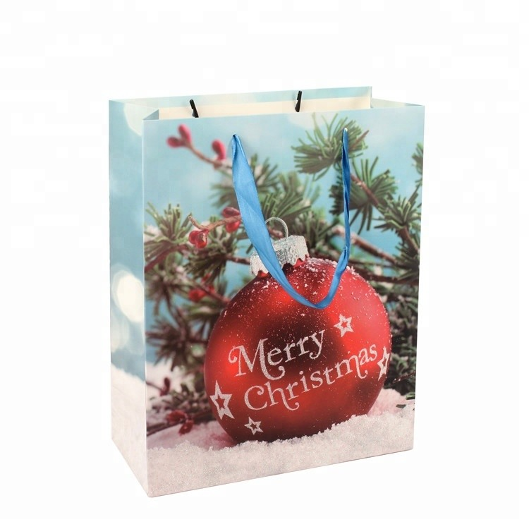 New Style Custom Logo Durable Glitter Christmas Paper Gift Bags With PP Rope Handles