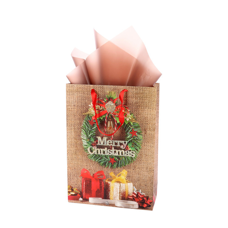 Wholesale Eco-friendly Cheap Brown Shopping Bag Portable Christmas Paper Gift Bags With Handle