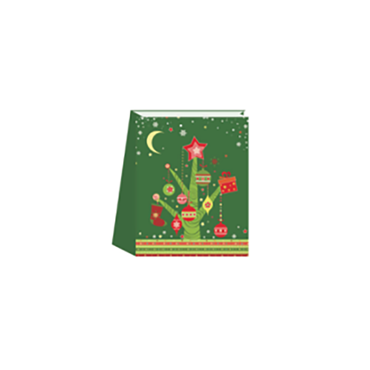 Luxury Unique Design High Quality Recyclable Embossing Green Christmas Paper Bag