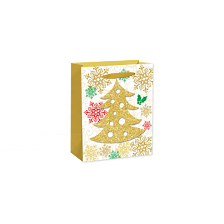 Recycled Rectangle Printing Christmas Tree Paper Wrapping Bags With Bright Powder