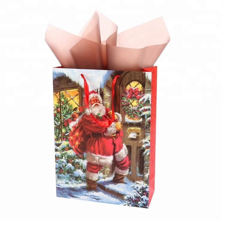 Top Quality Reusable Fancy Cartoon Print PP Rope Handle Santa Pattern Gift Paper Bags