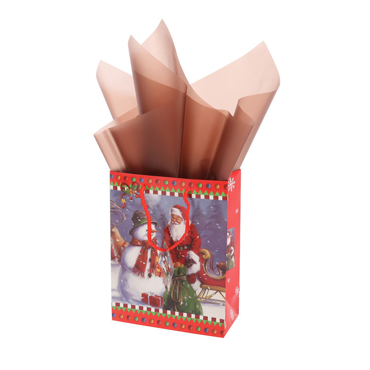 High Quality Customized Christmas Holiday Santa Claus Coated Paper Gift Bag