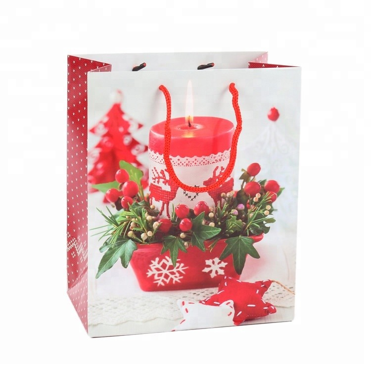 High Quality Colorful Custom Made Decorative Christmas Holiday Gift Paper Bags
