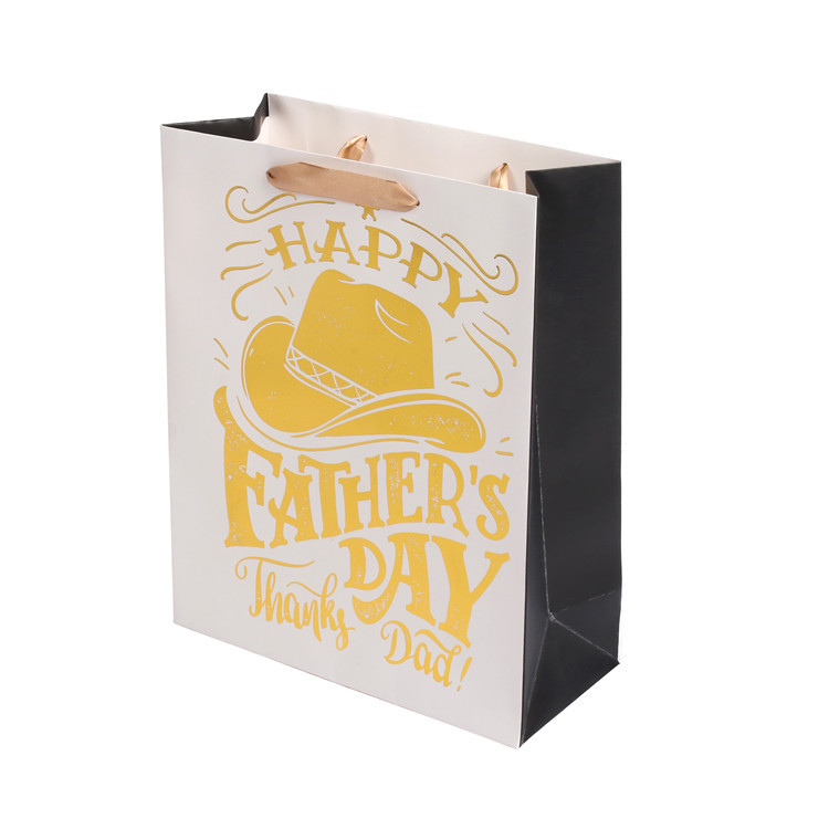 High Quality Fancy Custom Logo Printed Foldable Father's Day Gift Kraft Paper Bags With Wide Bottom