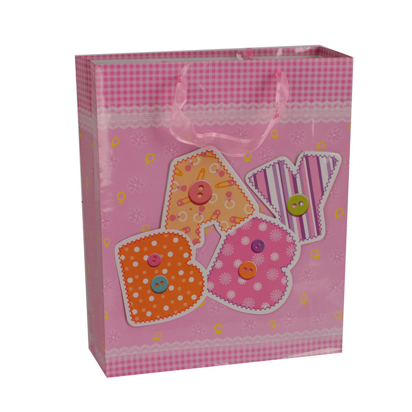 Manufacturer Custom Logo Printing Pink Embossing Children Paper Gift Bag With Handle