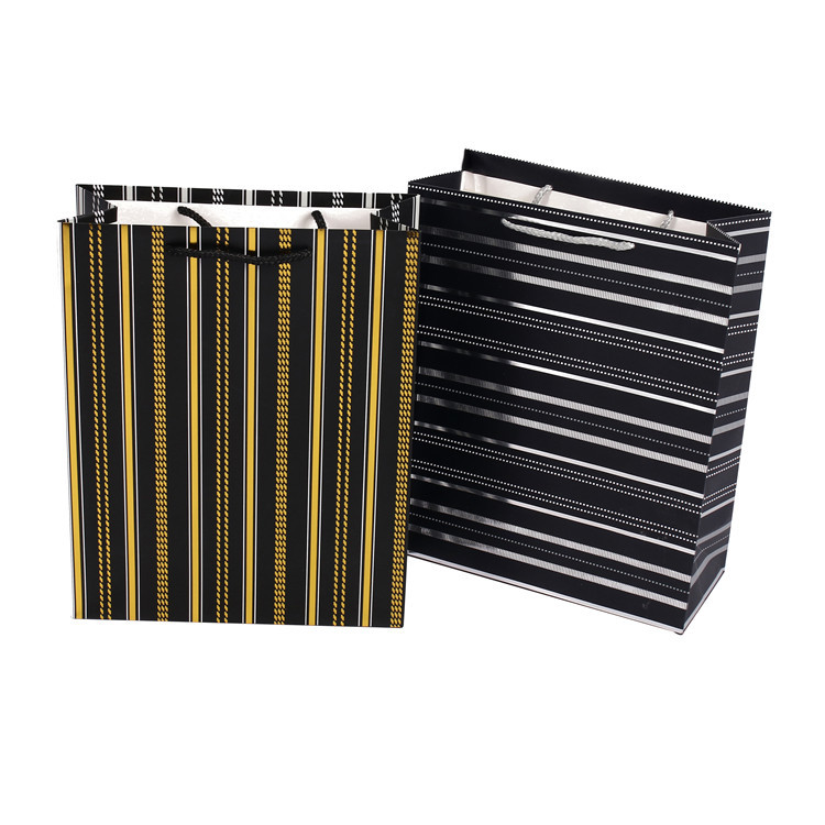 New Design Handmade Eco-Friendly Mini Small Black Stripe Crafts Kids Paper Bag