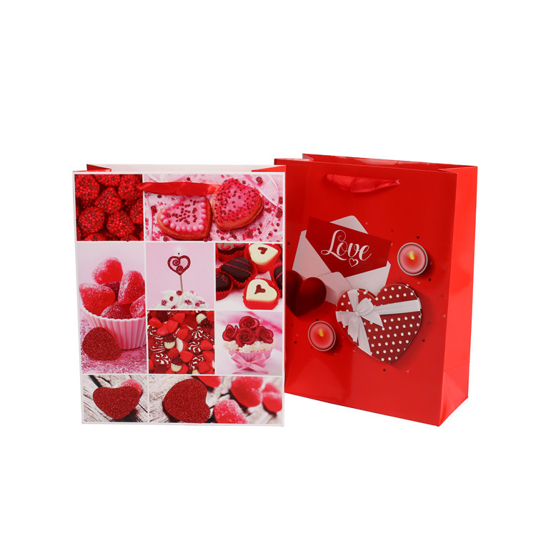 Customized Party Favors Red Present Tote Packaging Paper Chinese Wedding Gift Bag With Handle