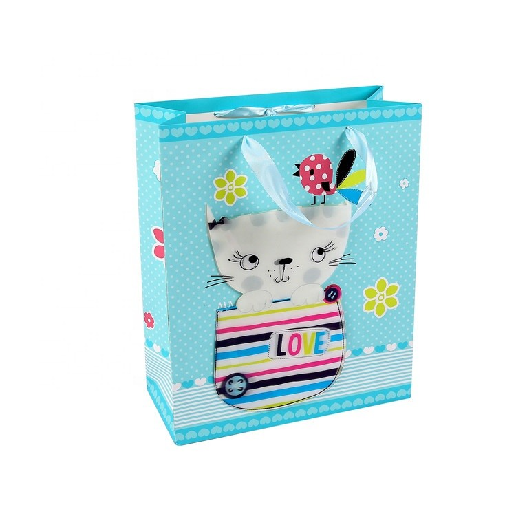 Wholesale Top Quality Lovely Cartoon Blue Square Gift Paper Carry Bags With Ribbon Handles