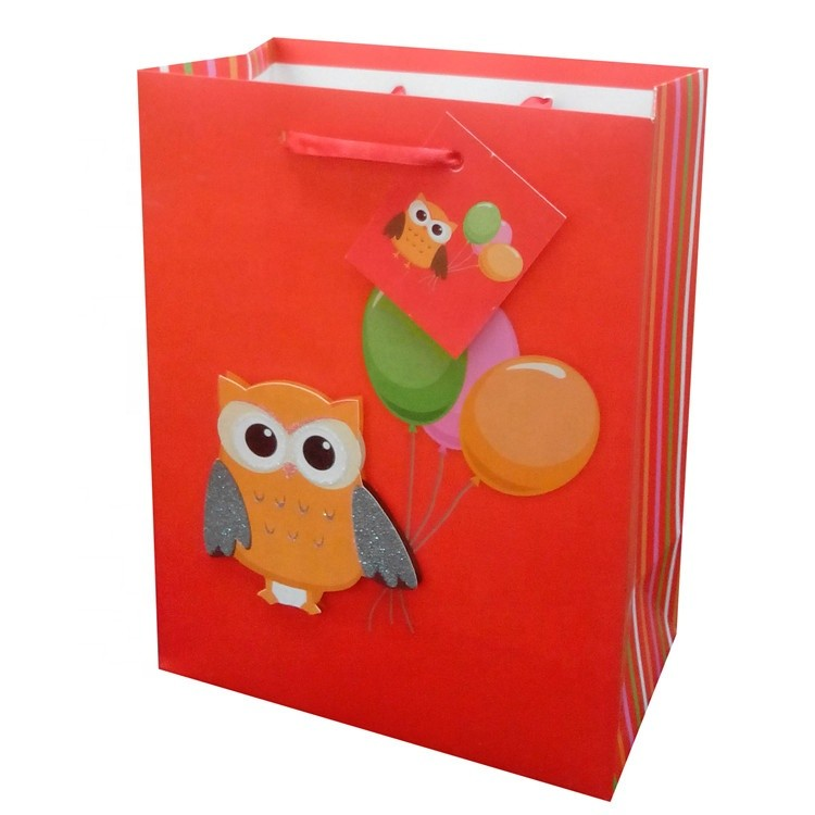 China Manufacturers Red Festive Cartoon Animal Contracted White Lining Shopping Gift Bags