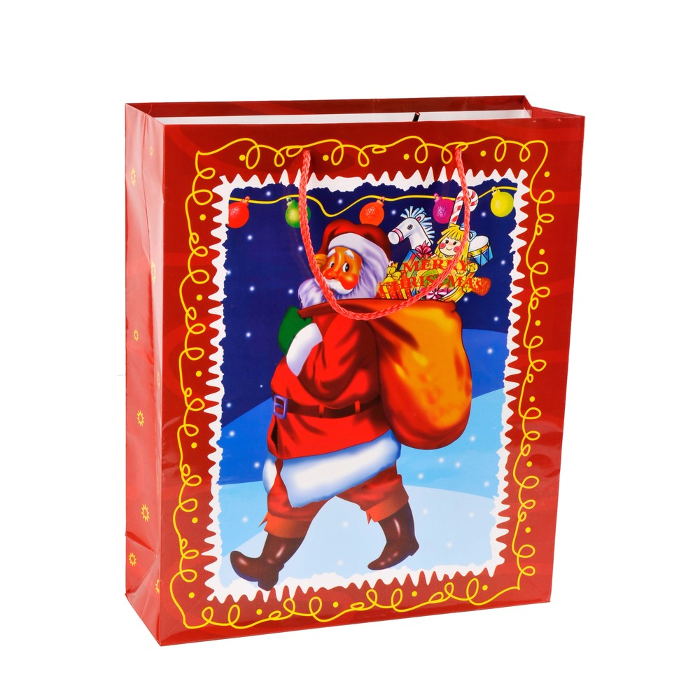 Fashion Snowman Print Kids Party Gift Christmas Paper Bags With Rope Handles