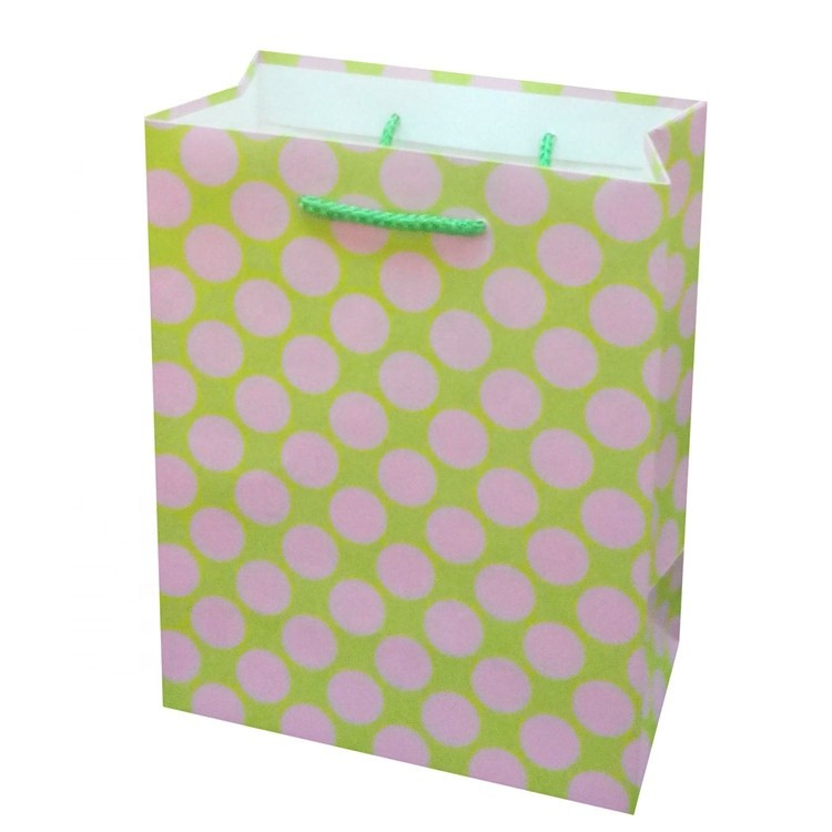 Best Sale Green Purple Dots Hot Stamping Christmas Paper Bag With Cotton Handle