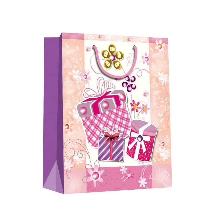 Custom Durable Paper Bags Birthday Party Packing Paper Gift Bags With Rope Handles