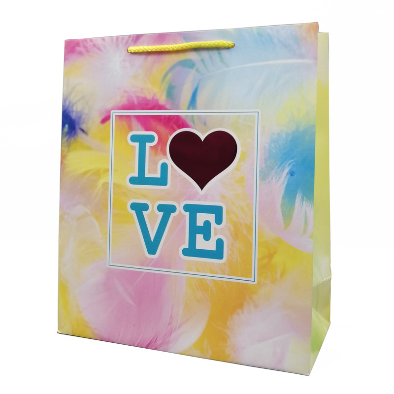 Promotion 4C Full Color Print Stock Hot Stamping Gift Paper Shopping Bag With Handle