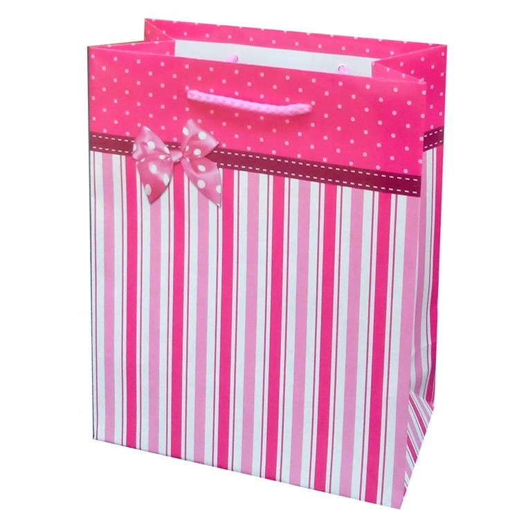 Custom Recycled Design Cartoon Shopping Pink Kraft Paper Bag With Rope Handle