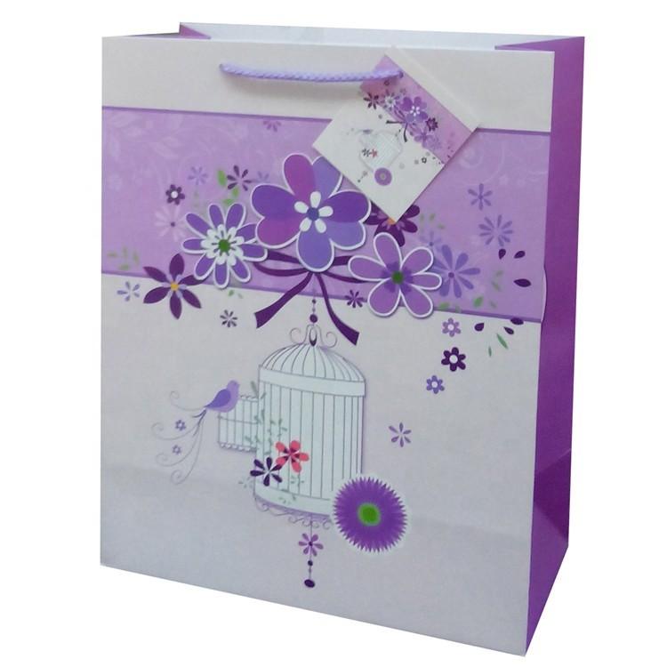 Wholesale TOP Quality Reusable Custom Printing Cartoon Purple Kraft Paper Bag