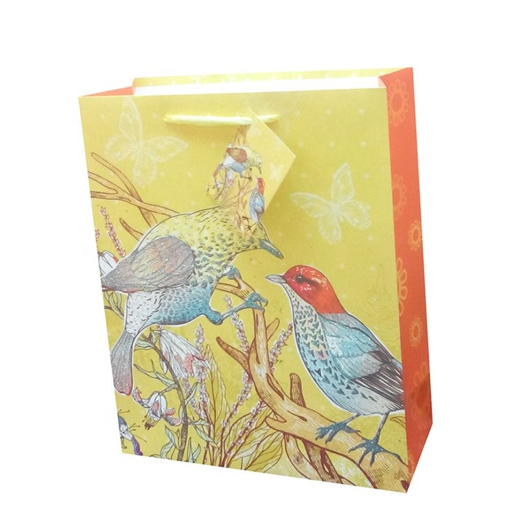 Hot Sale Custom Logo Embossing Bird Fancy Printing Paper Gift Packaging Bags