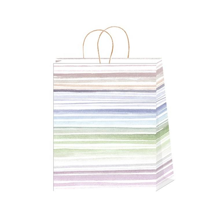 Unique Design Reusable Stripe Cool Colors Flat Bottom Disposable Shopping Paper Bag