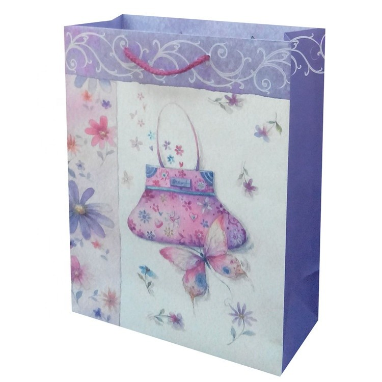 Wholesale Foldable Reusable Eco-friendly Cute Print Kraft Paper Bags With Rope Handles