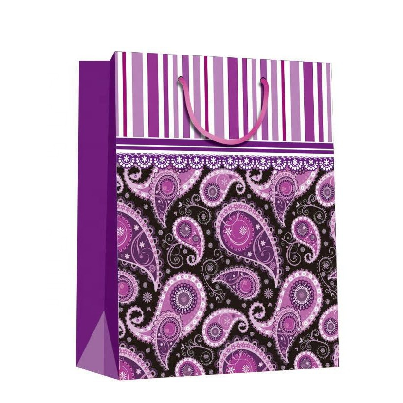Promotional Luxury Durable Purple Handmade Stripe Gift Paper Bag With Rope Handles