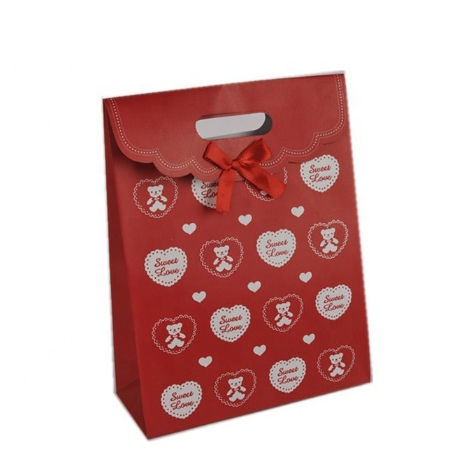 Latest Design Foldable Sticker Heart Print Children Red Bowknot Gift Paper Gift Bags