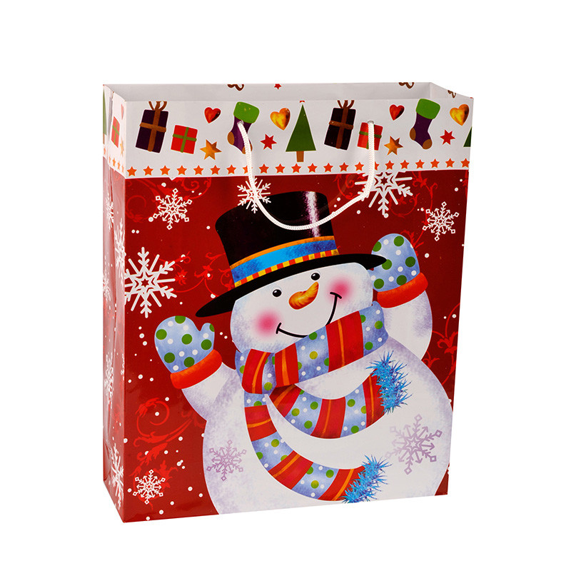 Wholesale Snowman Print Children Christmas Gift Paper Gift Bags With Two Handles
