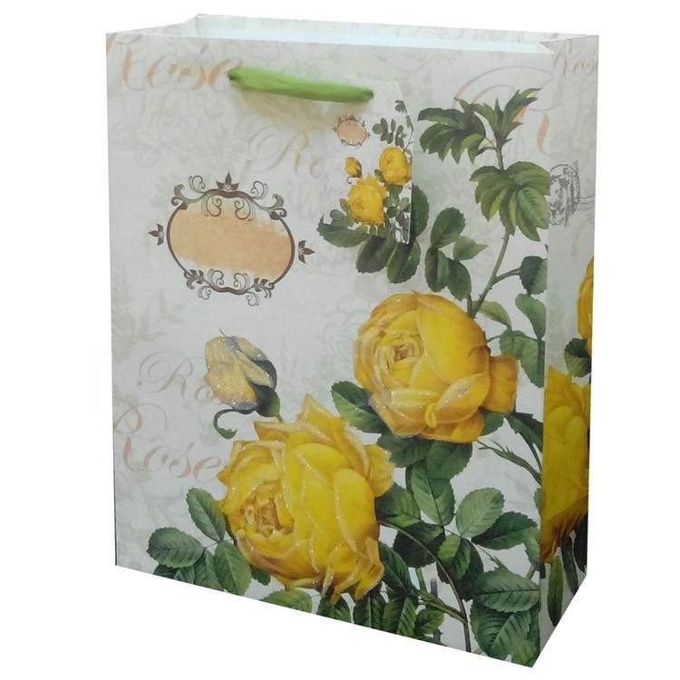 Yellow Embossing Recycled Double Handle Durable Christmas Foldable Paper Bag