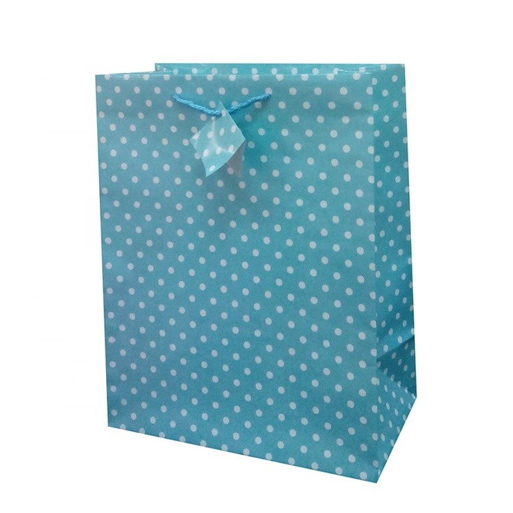 Recyclable Custom Printed Blue Shopping Packaging Paper Gift Bag With Dots, Promotional Paper Wine Bag