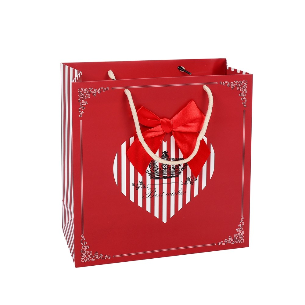 Wholesale High Quality Custom Logo Printed Red Wedding Paper Gift Bags With Rope Handles