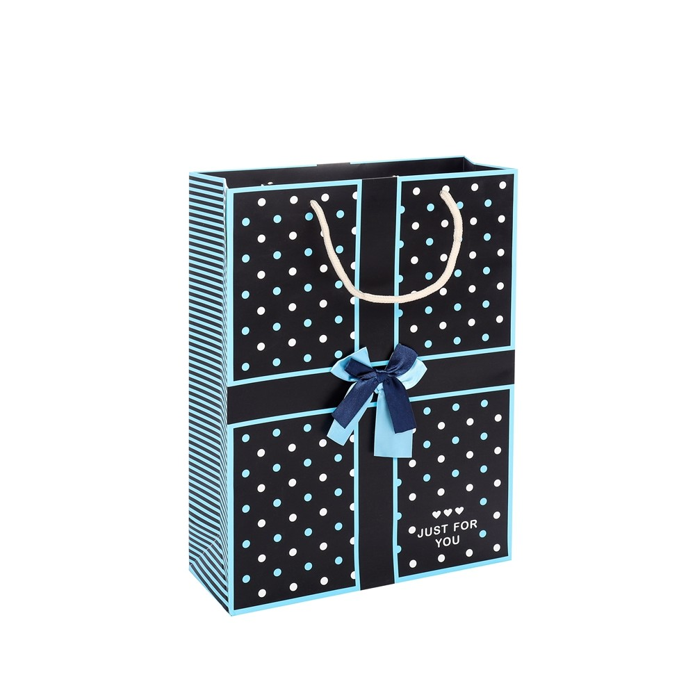 Wholesale Custom Dot Printed Biodegradable Birthday Blue Paper Gift Bags With Rope Handles