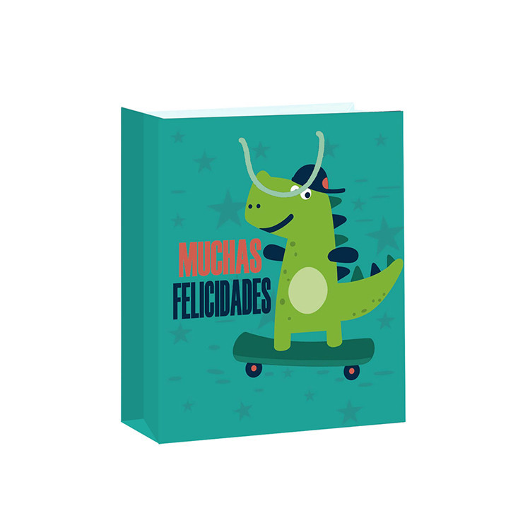 2019 Special Design Chromatic Cartoon Animal Durable Paper Gift Bag With Handles