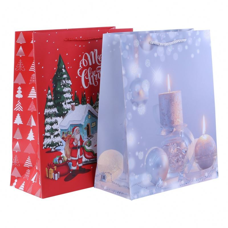 Trendy style christmas gift paper bag with handle exquisite decoration handmade paper bag