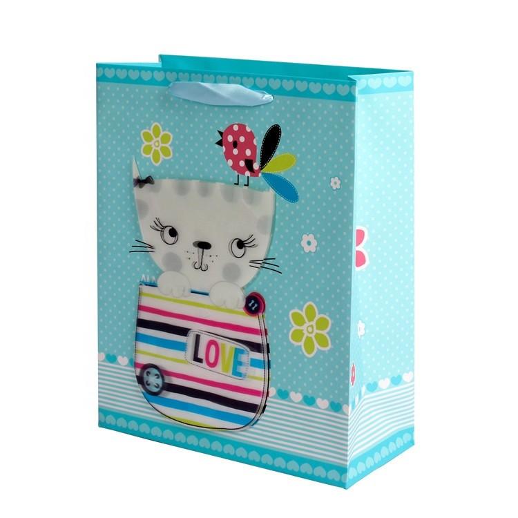 2019 New Design Handmade Eco-Friendly Lovely Cat Square Kraft Paper Shopping Bags