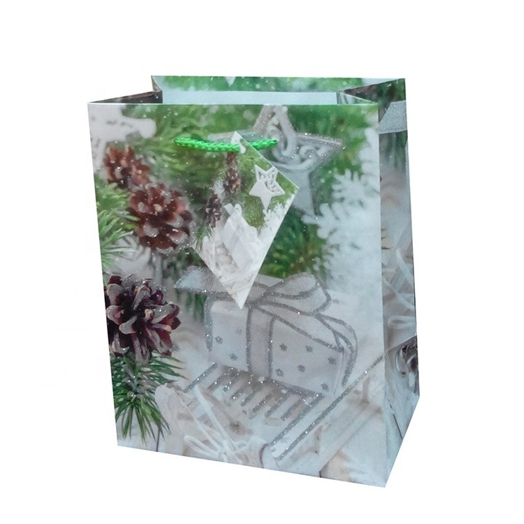 2019 High Quality Recycle Colorful Carrier Handmade Green Wedding Square Paper Gift Bags
