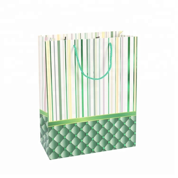 2019 High Quality Custom Handmade Stripe Green Gift Bags For Shopping, Bulk Oversized Gift Bags