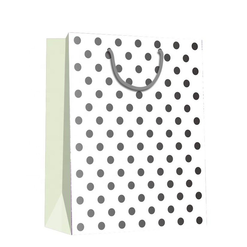 2019 Top Quality Reusable Gray Circle Handmade Simple Design Lady Shopping Paper Gift Bags