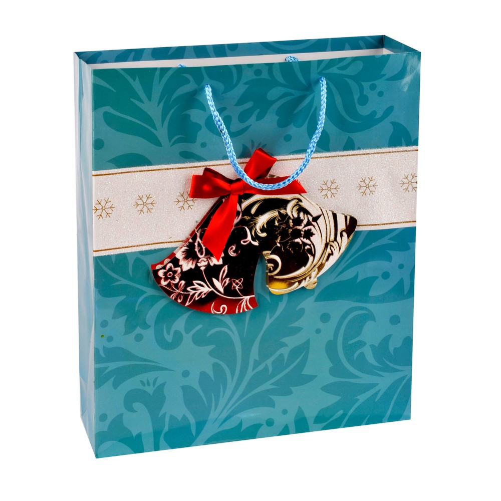 2019 Elegant Design Embossing Christmas Party Paper Bag With PP Rope Handles