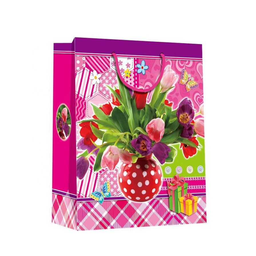 2019 Promotional Pink Eco-friendly DurableFancy Square Paper Shopping Bags For Women