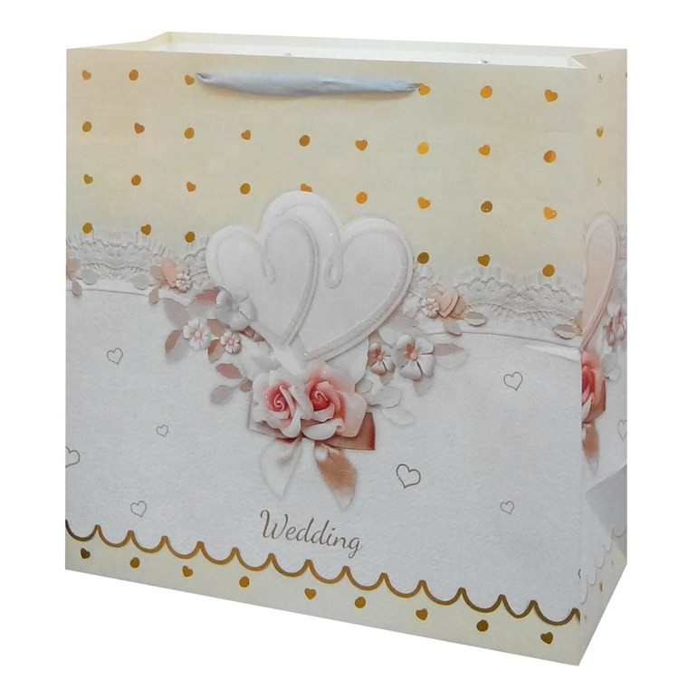 Wholesale High Quality Custom Printed Foldable Eco-friendly Fancy Lovely Wedding Paper Bags With Rope Handles