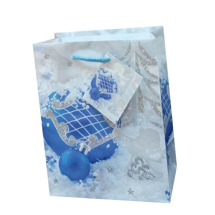 Custom Logo Printing Handmade Foldable Lovely Natrual Blue Paper Chocolate Gift Bags