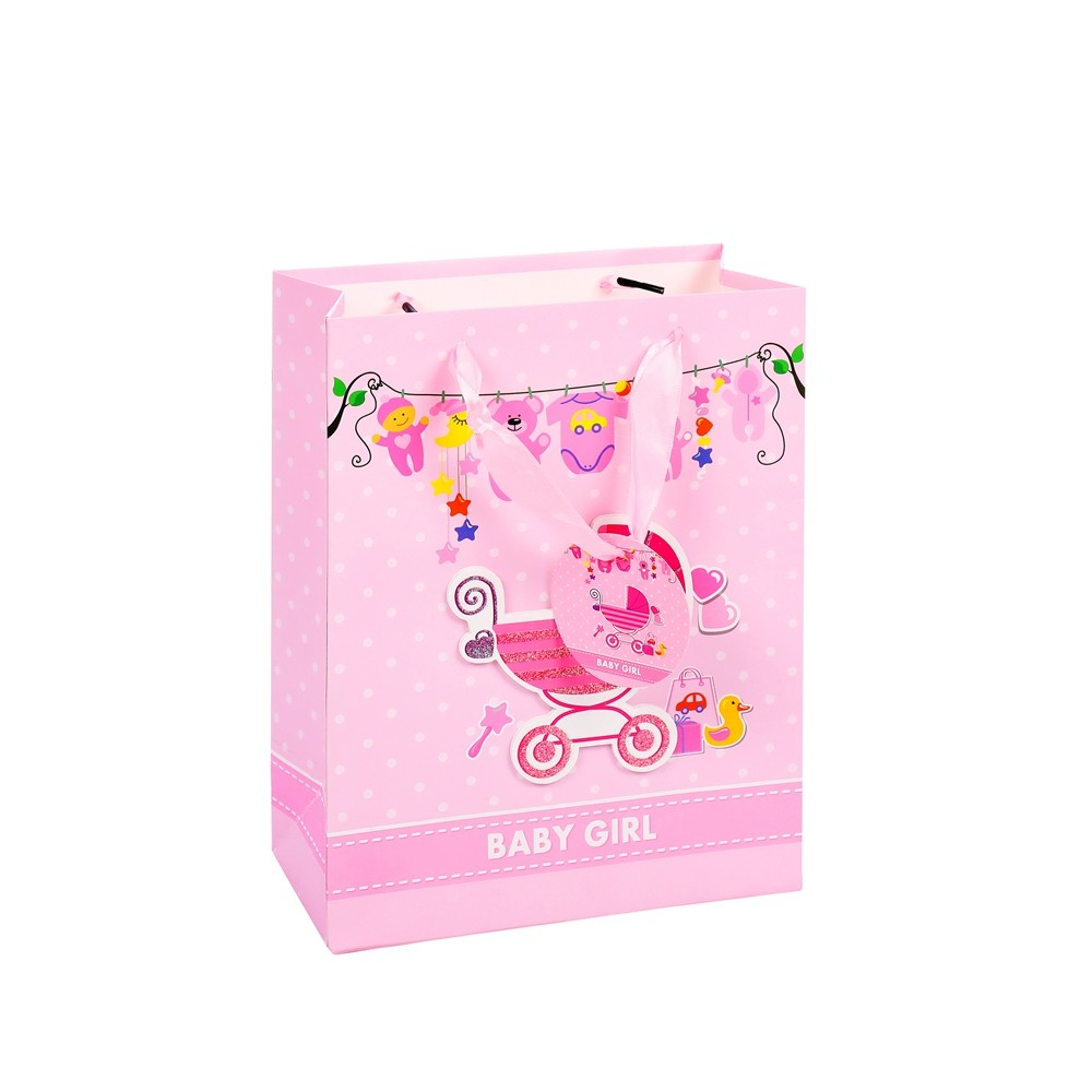 2019 Promotional Recycle Custom Color Baby Clothes Packaging Paper Gift Bag With Rope Handle