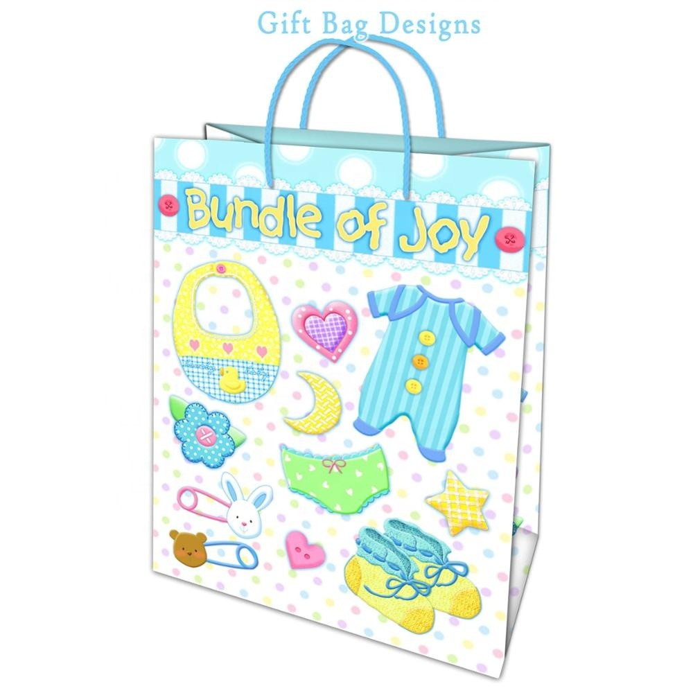 Customized pattern printing elegant cartoon paper gift bags for gift packaging