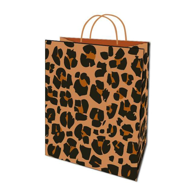 Hot Sale Leopard Print Design Fashion Eco-friendly Luxury Shopping Paper Gift Bags With Handles