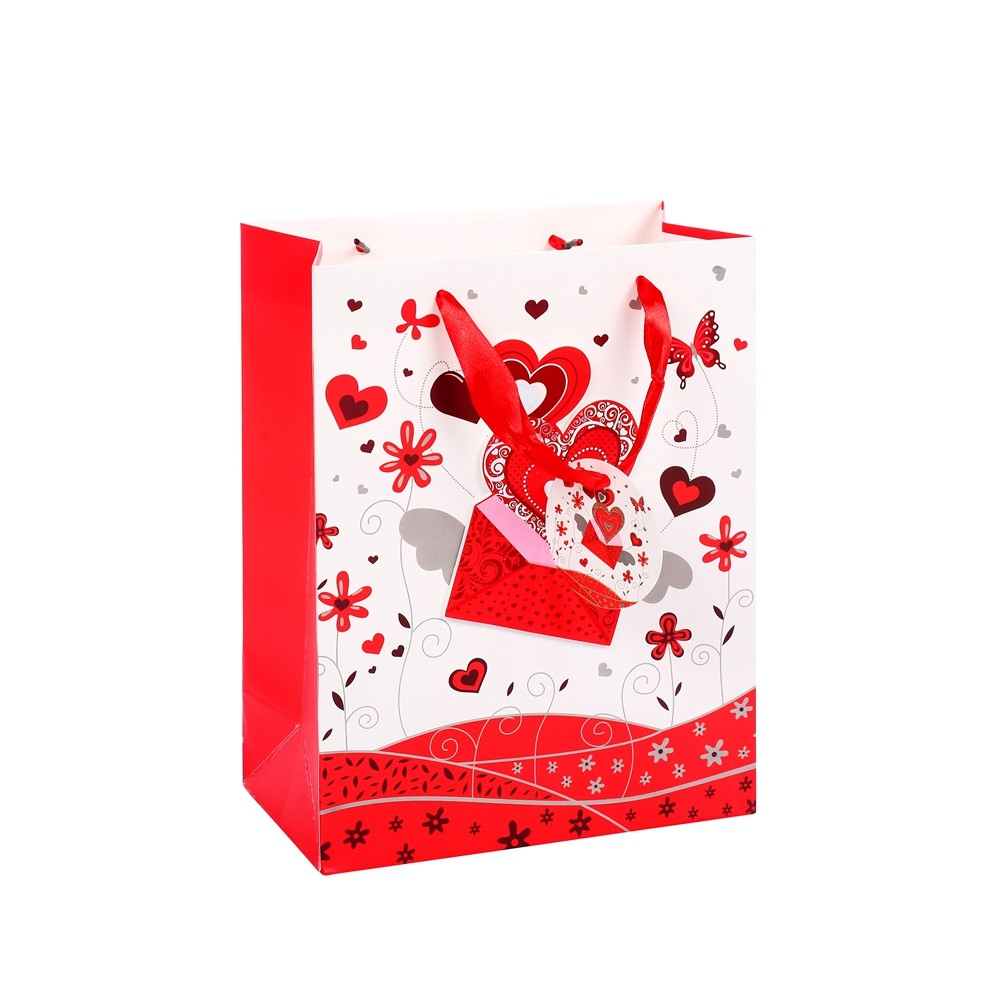Environmental Durable Custom Festive Printed Red Party Paper Gift Bag With Logo Printing
