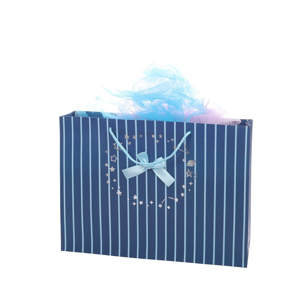 Simple Hot Sell Blue Striped Paper Bag With Handles Shopping Merchandise Party Gift Bags