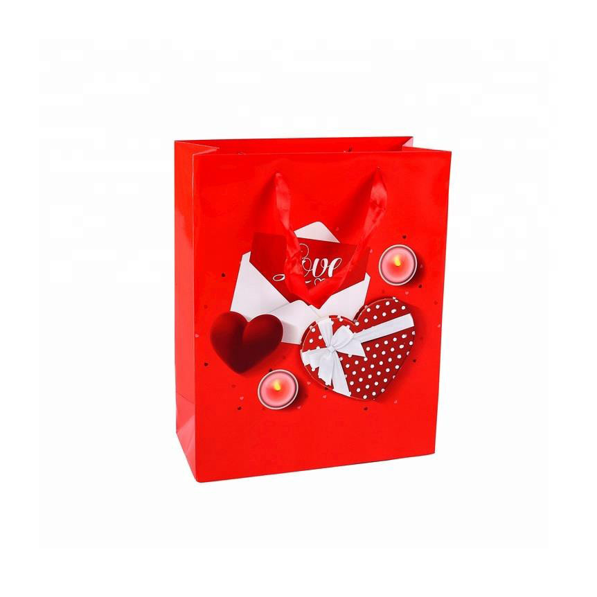 Wholesales Cheap Popular Fancy Red Festive Coated Paper Unoccupied Shopping Gift Bags