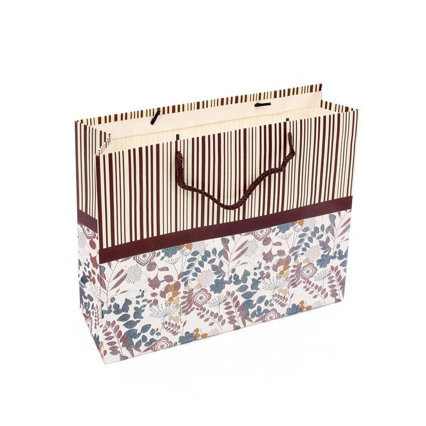 Stocked Paper Merchandise Bags Paper Bag Crafts For Gifts Stripe Cute Printing Paper Bags
